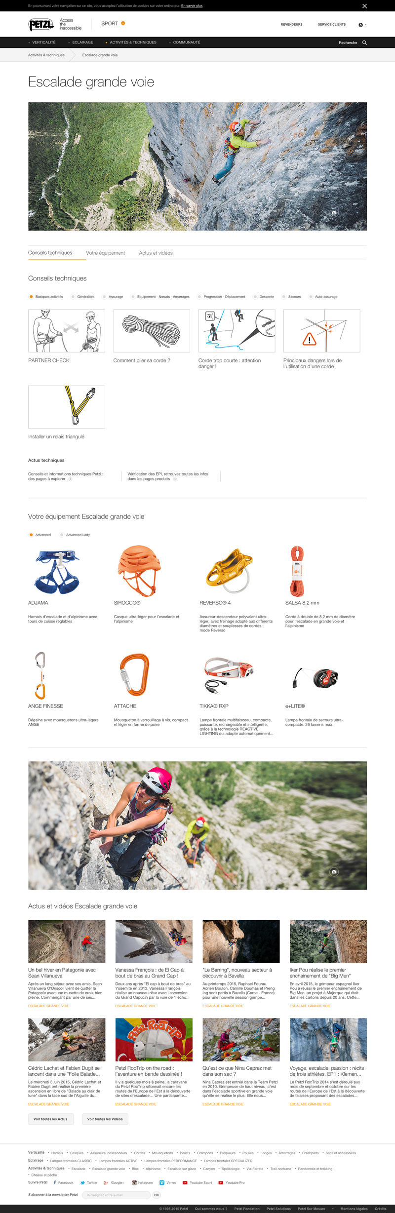 petzl site webdesign grille