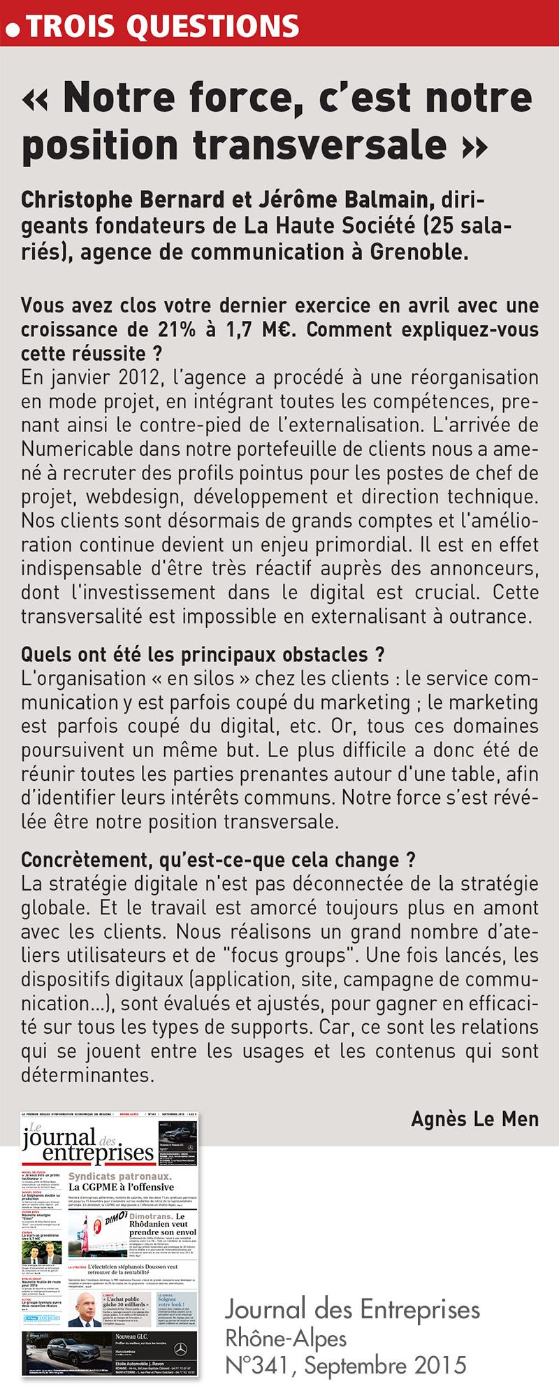 christophe bernard interview dans le journal des entreprises septembre 2015 la haute société