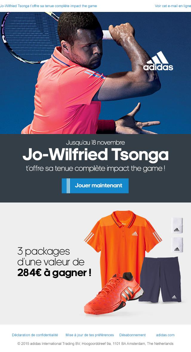 adidas emailing tsonga outfit comptetition