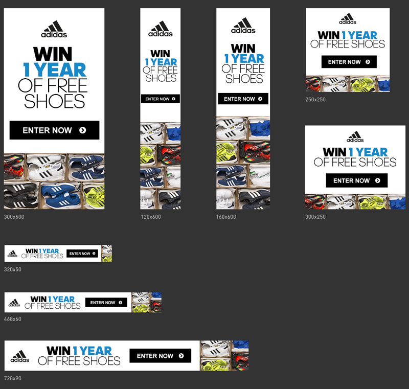 one year of shoes adidas banners